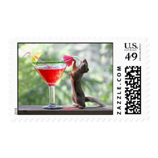 Squirrel Drinking a Cocktail at Happy Hour Postage