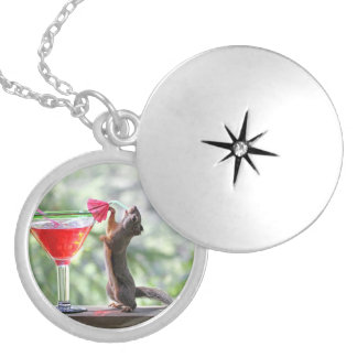 Squirrel Drinking a Cocktail at Happy Hour Round Locket Necklace