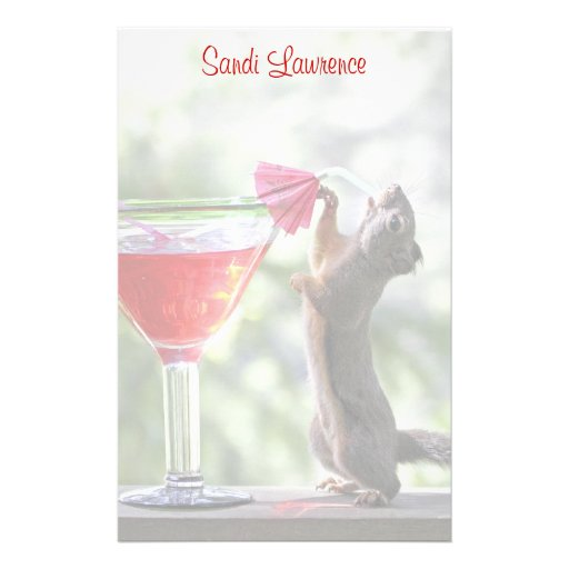 Squirrel Drinking a Cocktail at Happy Hour Stationery
