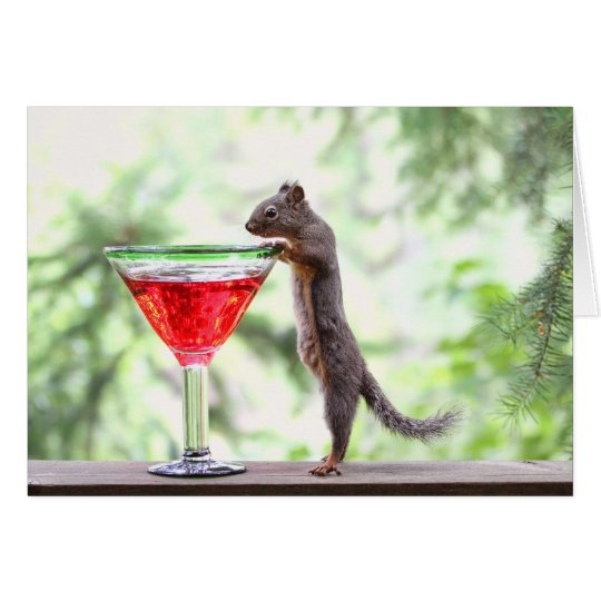 Squirrel Drinking a Cocktail Card