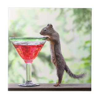 Squirrel Drinking a Cocktail Ceramic Tiles