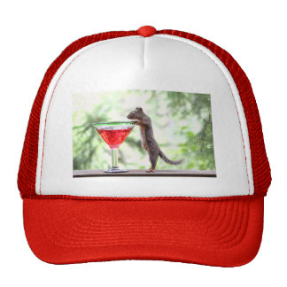 Squirrel Drinking a Cocktail Trucker Hat