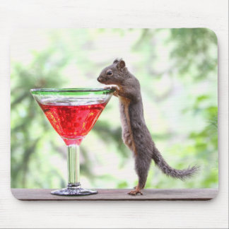 Squirrel Drinking a Cocktail Mouse Pad