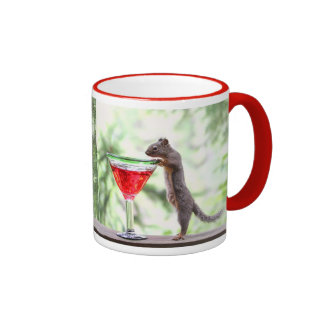 Squirrel Drinking a Cocktail Ringer Coffee Mug