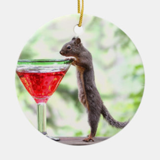 Squirrel Drinking a Cocktail Ornament