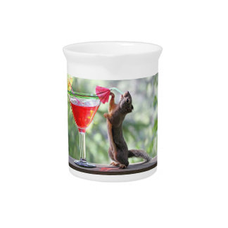 Squirrel Drinking a Cocktail Drink Pitchers