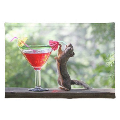 Squirrel Drinking a Cocktail Place Mats