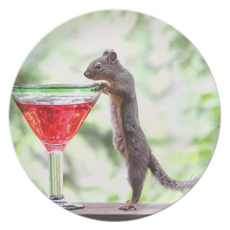 Squirrel Drinking a Cocktail Plate