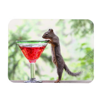 Squirrel Drinking a Cocktail Magnet