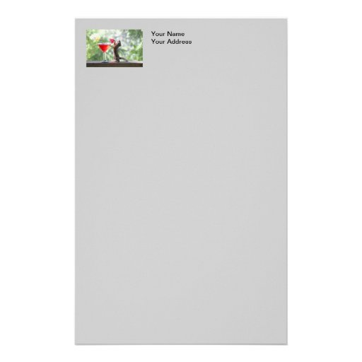 Squirrel Drinking a Cocktail Personalized Stationery