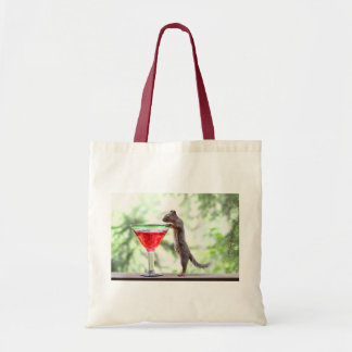 Squirrel Drinking a Cocktail Tote Bag
