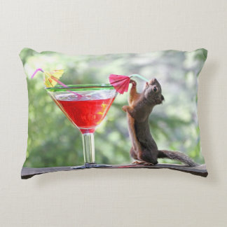 Squirrel Drinking at Happy Hour Accent Pillow