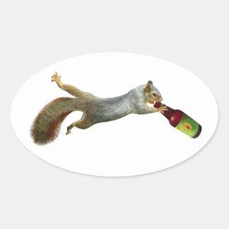 Squirrel Drinking Beer Sticker