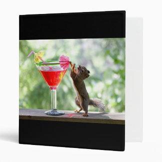 Squirrel Drinking Cocktail 3 Ring Binder