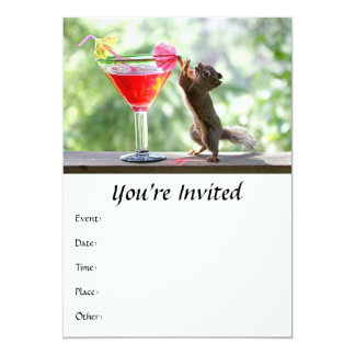 Squirrel Drinking Cocktail 5x7 Paper Invitation Card