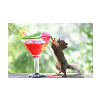 Squirrel Drinking Cocktail Gallery Wrap Canvas