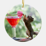 Squirrel Drinking Cocktail Christmas Tree Ornament