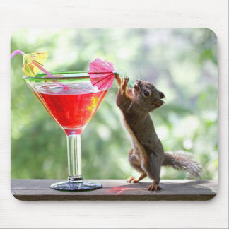 Squirrel Drinking Cocktail Mouse Pad