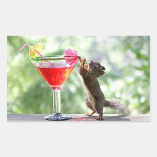 Squirrel Drinking Cocktail Rectangular Sticker