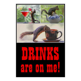 Squirrel Drinking Collage Poster