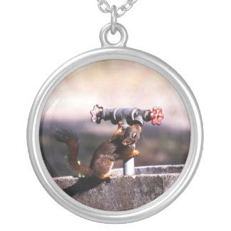 Squirrel drinking round pendant necklace