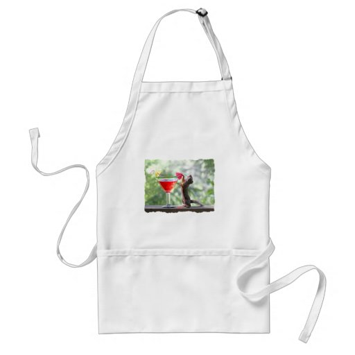 Squirrel Drinking Tropical Drink Aprons