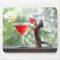 Squirrel Drinking Tropical Drink Mousepad