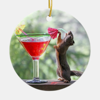 Squirrel Drinking Tropical Drink Ornaments