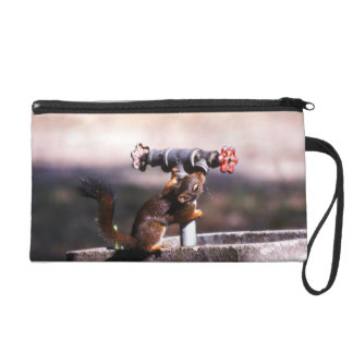 Squirrel drinking wristlet purse