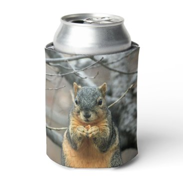 Beach Themed Squirrel Eating a Nut Can Cooler