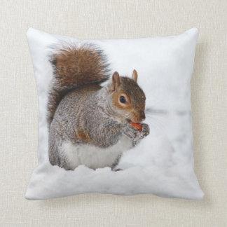 Squirrel Eating a Nut Throw Cushion Pillows