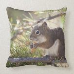 Squirrel eating a pine cone 2 throw pillow