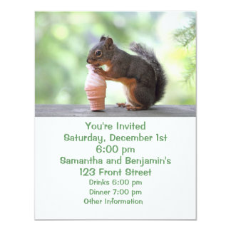 Squirrel Eating an Ice Cream Cone 4.25x5.5 Paper Invitation Card