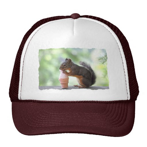 Squirrel Eating an Ice Cream Cone Mesh Hats