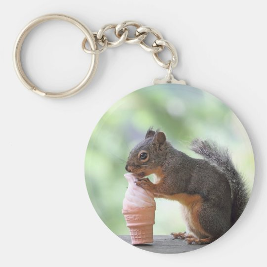 Squirrel Eating an Ice Cream Cone Keychain