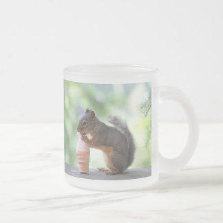 Squirrel Eating an Ice Cream Cone 10 Oz Frosted Glass Coffee Mug