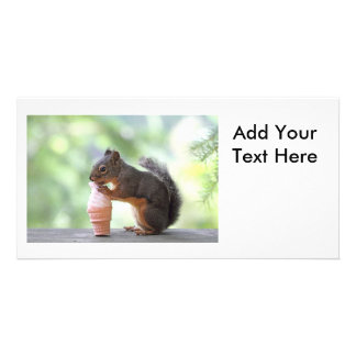 Squirrel Eating an Ice Cream Cone Custom Photo Card