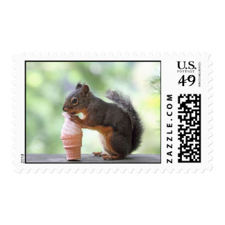 Squirrel Eating an Ice Cream Cone Stamp