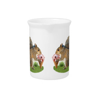 Squirrel Eating Ice Cream Cone Beverage Pitcher