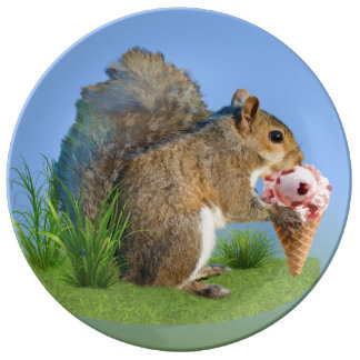 Squirrel Eating Ice Cream Cone Dinner Plate