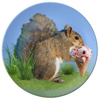 Squirrel Eating Ice Cream Cone Dinner Plate