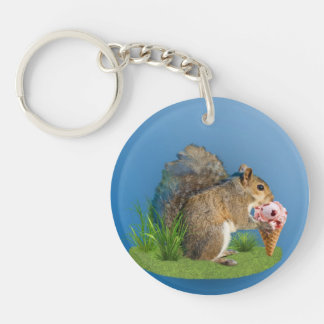 Squirrel Eating Ice Cream Cone Keychain