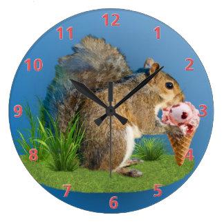 Squirrel Eating Ice Cream Cone Large Clock