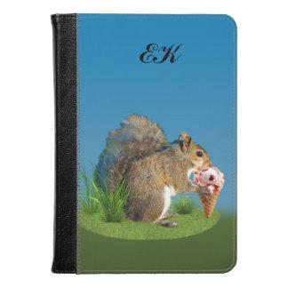 Squirrel Eating Ice Cream Cone, Monogram Kindle Case