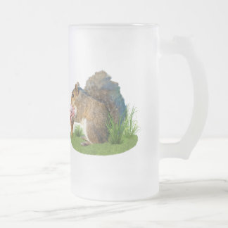 Squirrel Eating Ice Cream Cone 16 Oz Frosted Glass Beer Mug