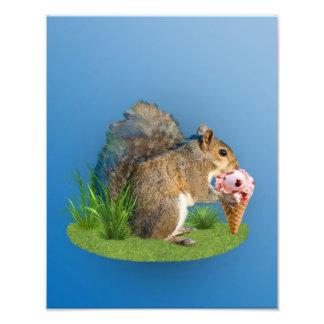Squirrel Eating Ice Cream Cone Photo Print