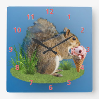 Squirrel Eating Ice Cream Cone Square Wall Clock