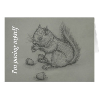 Squirrel Eating Nuts Pencil Drawing Card