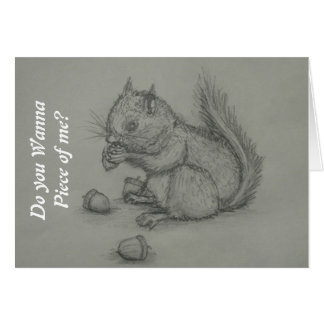 Squirrel Eating nuts Pencil Drawing Greeting Card