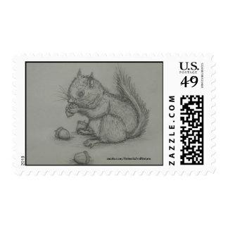 Squirrel Eating Nuts Postage Stamp